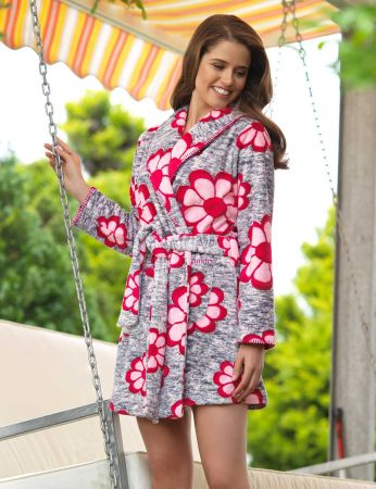 Mel Bee - Mel Bee Women Morning Gown Flower Printed MBP23034-1