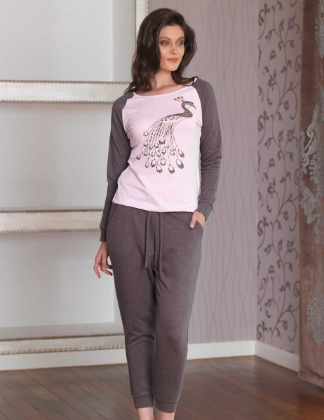 Mel Bee - Mel Bee Women Sequin Embroidery Pajama Set Pink MBP23014-2
