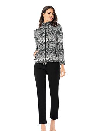 Mel Bee Women Zip Pajama Set Patterned MBP23007-1