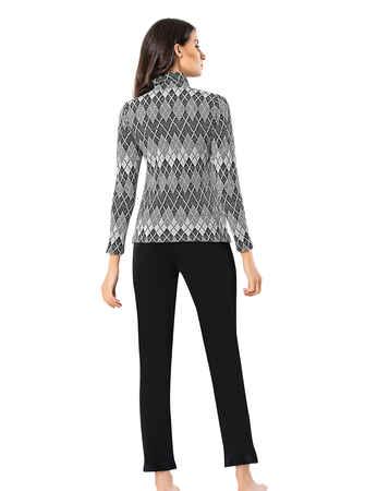 Mel Bee Women Zip Pajama Set Patterned MBP23007-1 - Thumbnail