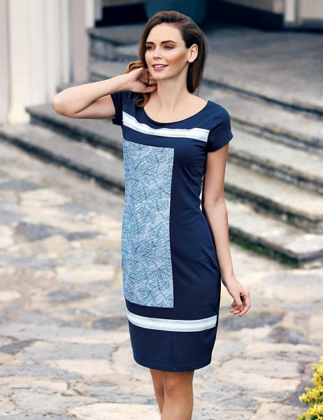 Mel Bee - Mel Bee Yaprak Desenli Elbise Lacivert MBP23307-1