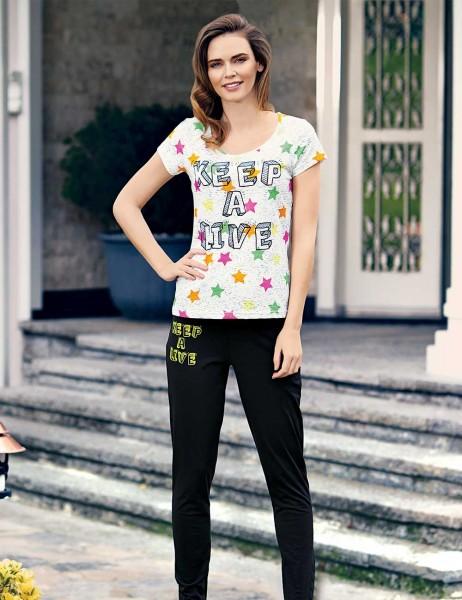 Mel Bee - Mel Bee Yıldız Baskılı Kadın Pijama Takımı Siyah MBP23329-1