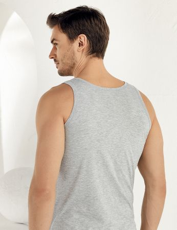 Sahinle Men Singlet Cotton Wide Strap Cotton Grey ME005