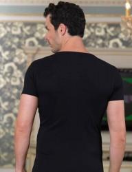 Sahinler 2x2 Rib Singlet Crew Neck Short Sleeve Black ME089 - Thumbnail