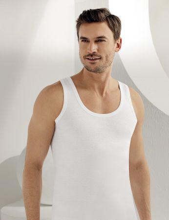 Sahinler 6-Packs Man Rib Singlet 100% Cotton White ME020