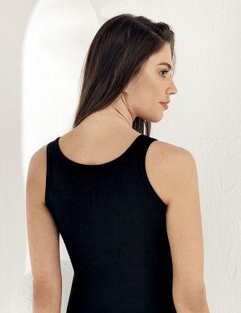 Sahinler Basic-Unterhemd mit breiten Trägern und Muster schwarz MB800