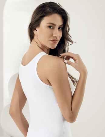 Şahinler - Sahinler Basic-Unterhemd mit breiten Trägern und Muster weiß MB800 (1)