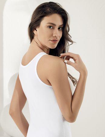 Sahinler Basic-Unterhemd mit breiten Trägern und Muster weiß MB800