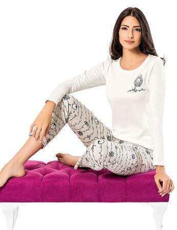 Şahinler - Şahinler Baskılı Bayan Pijama Takımı Beyaz MBP24308-2