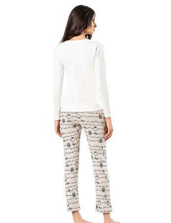 Şahinler - Şahinler Baskılı Bayan Pijama Takımı Beyaz MBP24308-2 (1)