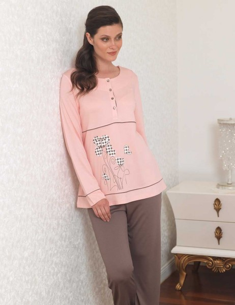 Şahinler - Şahinler Baskılı Bayan Pijama Takımı Pudra MBP23109-1