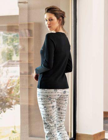Şahinler - Şahinler Baskılı Bayan Pijama Takımı Siyah MBP24308-1 (1)