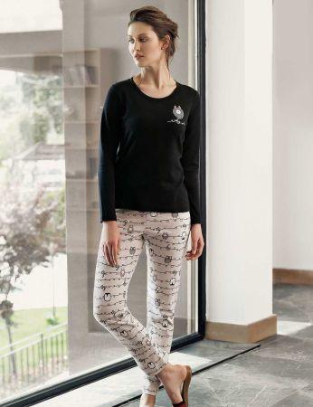Şahinler - Şahinler Baskılı Bayan Pijama Takımı Siyah MBP24308-1
