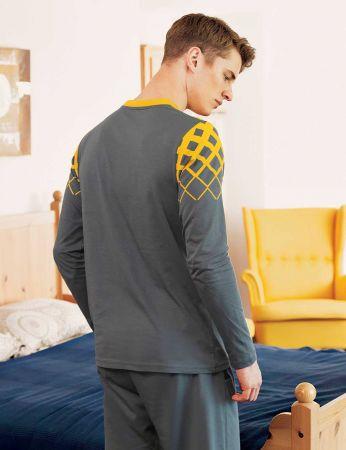Şahinler - Şahinler Baskılı Düğmeli Erkek Pijama Takımı Sarı MEP24514-2 (1)