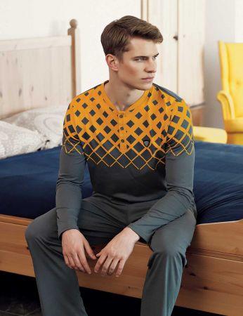 Şahinler - Şahinler Baskılı Düğmeli Erkek Pijama Takımı Sarı MEP24514-2