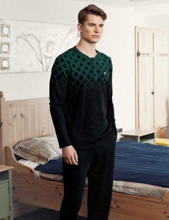 Şahinler - Şahinler Baskılı Düğmeli Erkek Pijama Takımı Yeşil MEP24514-1