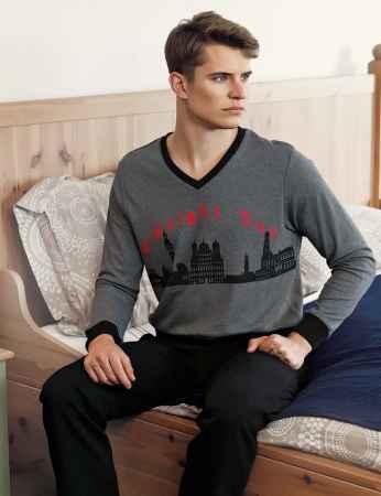 Şahinler - Şahinler Baskılı Erkek Pijama Takımı Gri MEP23210-2
