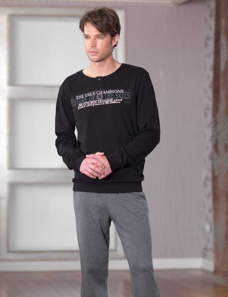 Şahinler - Şahinler Baskılı Erkek Pijama Takımı Siyah MEP23227-1