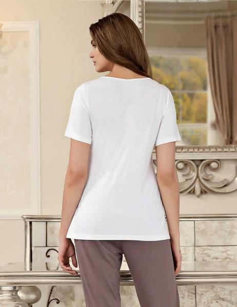 Şahinler - Şahinler Baskılı Kadın Pijama Takımı Beyaz MBP23404-1 (1)