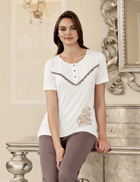 Şahinler - Şahinler Baskılı Kadın Pijama Takımı Beyaz MBP23404-1