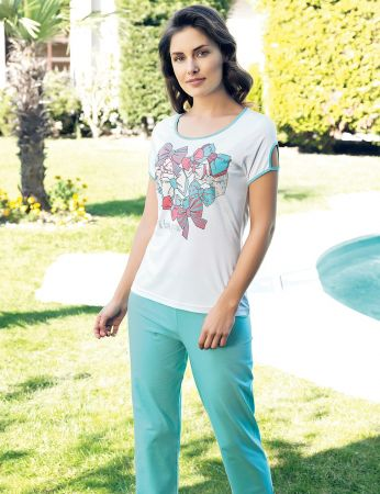Şahinler - Şahinler Baskılı Kadın Pijama Takımı Mavi MBP24032-1