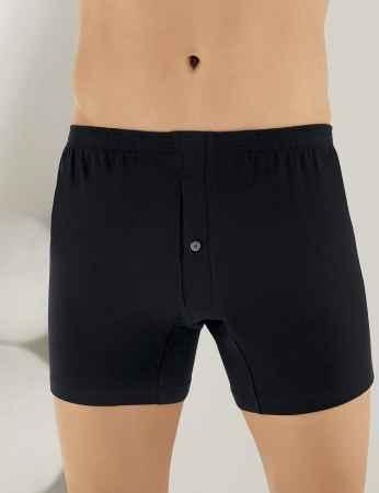 Sahinler Baumwoll-Boxer-Short mit Knöpfen schwarz ME010 - Thumbnail