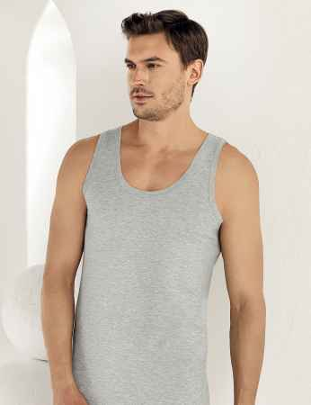 Sahinler Baumwoll-Unterhemd mit breiten Trägern grau ME005 - Thumbnail