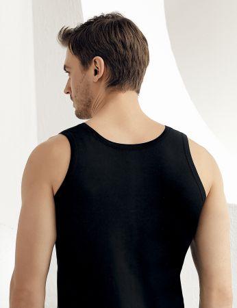 Sahinler Baumwoll-Unterhemd mit breiten Trägern schwarz ME005