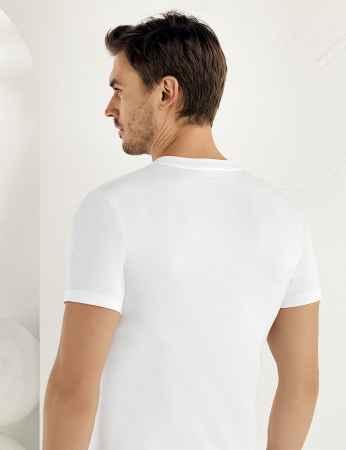 Şahinler - Sahinler Baumwoll-Unterhemd mit kurzen Ärmeln und geschlossenem Ausschnitt weiß ME003 (1)