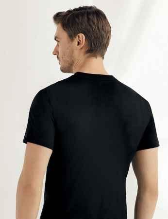 Şahinler - Sahinler Baumwoll-Unterhemd mit kurzen Ärmeln und rundem Ausschnitt schwarz ME004 (1)