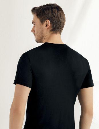 Sahinler Baumwoll-Unterhemd mit kurzen Ärmeln und rundem Ausschnitt schwarz ME004