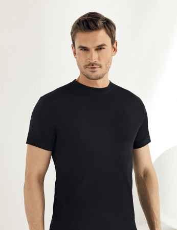 Sahinler Baumwoll-Unterhemd mit kurzen Ärmeln und rundem Ausschnitt schwarz ME004 - Thumbnail