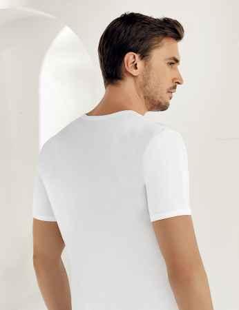 Sahinler Baumwoll-Unterhemd mit kurzen Ärmeln und rundem Ausschnitt weiß ME001 - Thumbnail