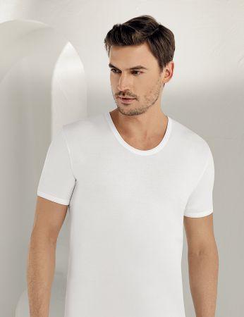 Sahinler Baumwoll-Unterhemd mit kurzen Ärmeln und rundem Ausschnitt weiß ME001
