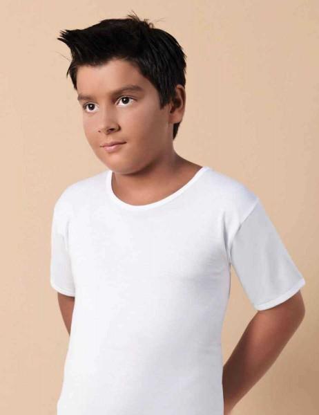Şahinler - Sahinler Baumwoll-Unterhemd mit kurzen Ärmeln und rundem Ausschnitt weiß MEC001