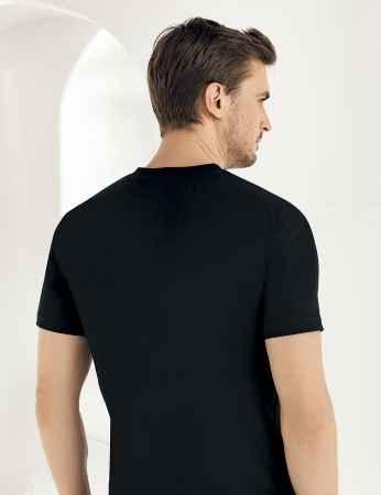 Sahinler Baumwoll-Unterhemd mit kurzen Ärmeln und V-Ausschnitt schwarz ME011 - Thumbnail