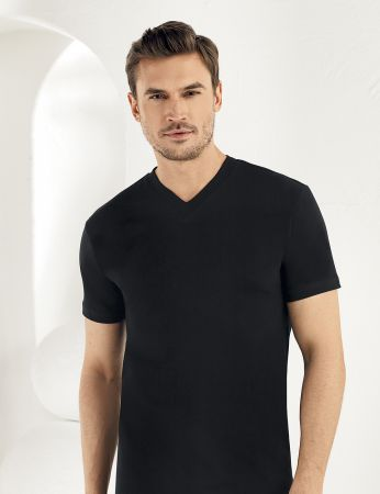 Sahinler Baumwoll-Unterhemd mit kurzen Ärmeln und V-Ausschnitt schwarz ME011