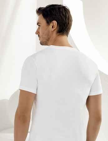Sahinler Baumwoll-Unterhemd mit kurzen Ärmeln und V-Ausschnitt weiß ME008 - Thumbnail