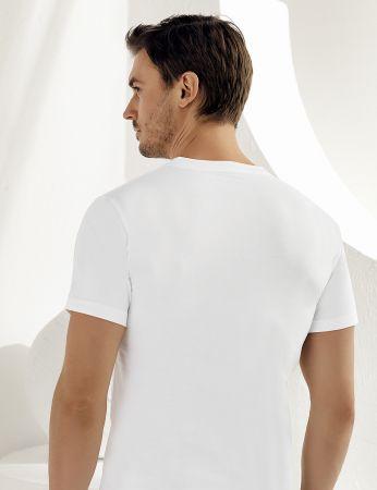 Sahinler Baumwoll-Unterhemd mit kurzen Ärmeln und V-Ausschnitt weiß ME008