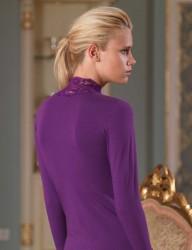 Şahinler Боди Пурпурное Кружевной С Высоким Отворачивающимся Воротником MB622 - Thumbnail