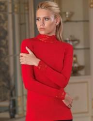 Şahinler - Şahinler Боди Красное С Кружевным Высоким Отворачивающимся Воротником MB622