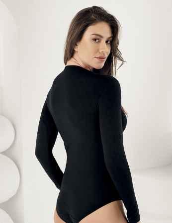 Sahinler Body mit langen Ärmeln und rundem Ausschnitt, Druckknöpfe schwarz MB866 - Thumbnail