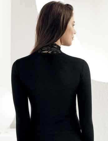 Sahinler Body mit Spitze und Rollkragen schwarz MB622 - Thumbnail