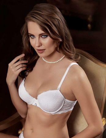 Şahinler - M9750 صدرية بيضاء دانتيل مجوفة