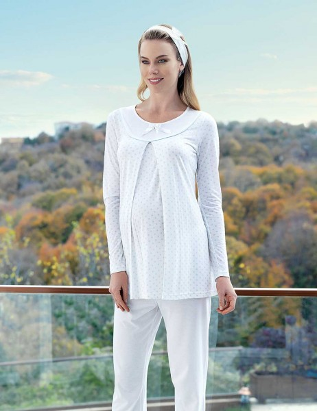 Şahinler Breastfeeding Maternity Sleepwear Set Blue MBP23414-2