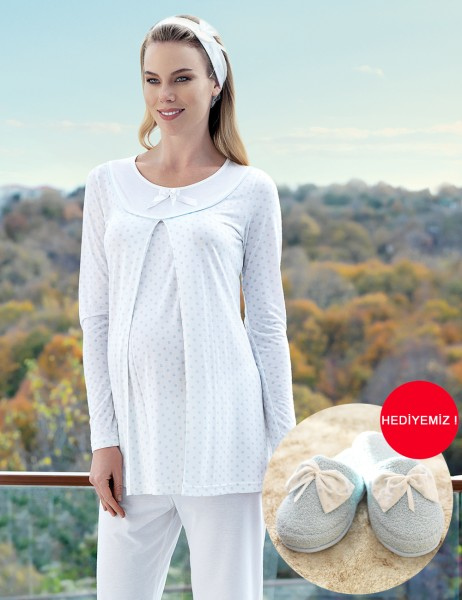 Şahinler Breastfeeding Maternity Sleepwear Set Blue MBP23414-2