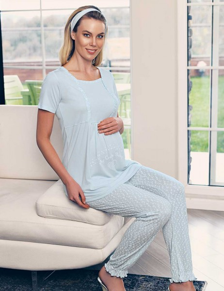 Şahinler Breastfeeding Maternity Sleepwear Set Blue MBP23417-2