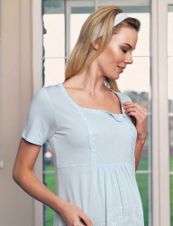 Şahinler Breastfeeding Maternity Sleepwear Set Blue MBP23417-2 - Thumbnail