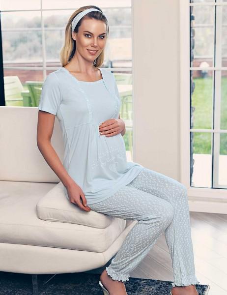 Şahinler Breastfeeding Maternity Sleepwear Set Blue MBP23417-2