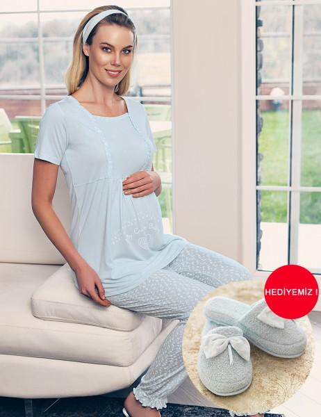 Şahinler - Şahinler Breastfeeding Maternity Sleepwear Set Blue MBP23417-2